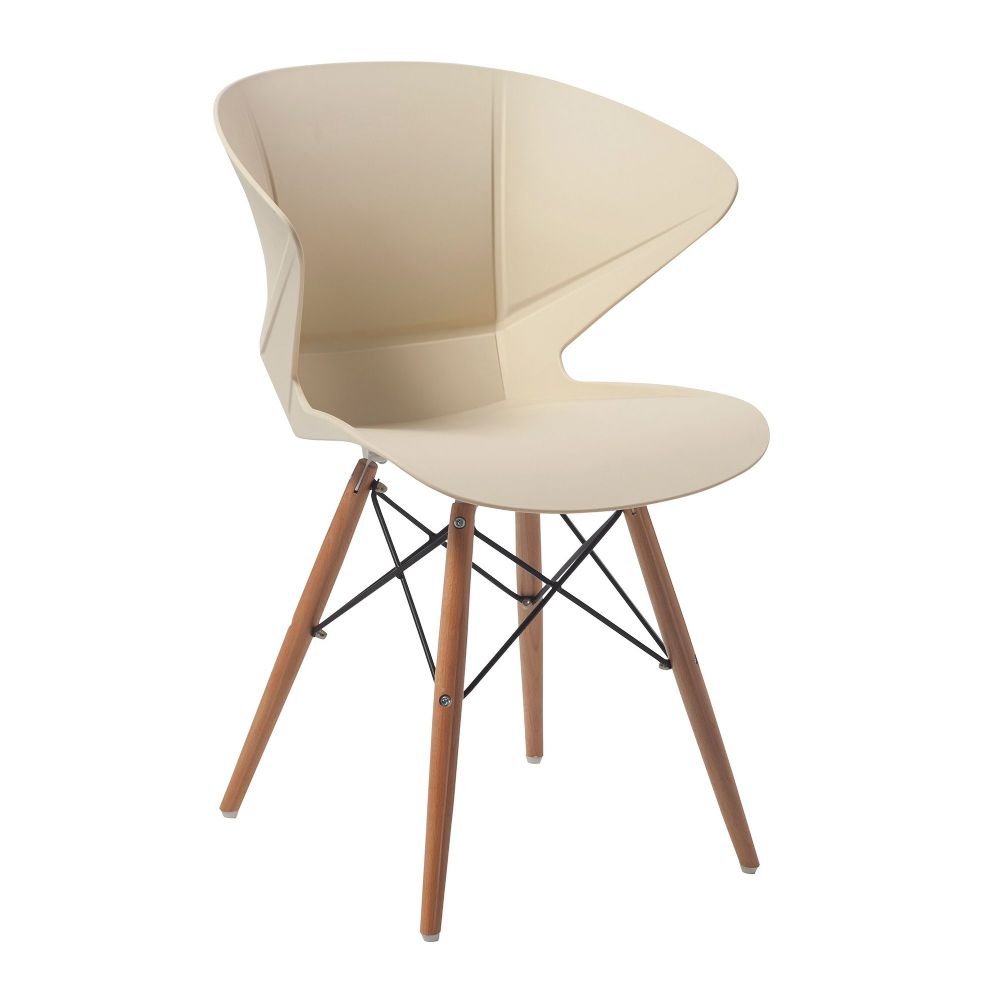 Mocha TWO Stylish lightweight Poly Chair with Solid Beech legs in Cream